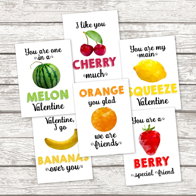 Free Printable School Valentine Cards Pretty My Party – Food Valentines Cards