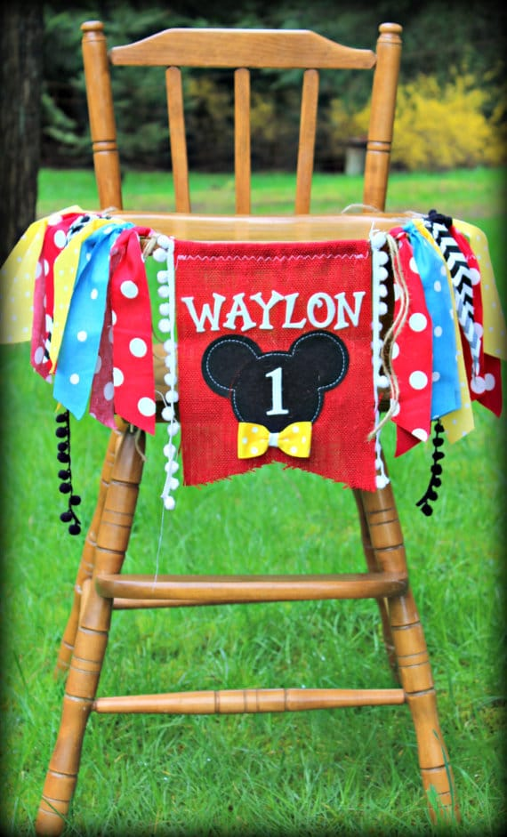 Mickey Mouse First Birthday High Chair Banner