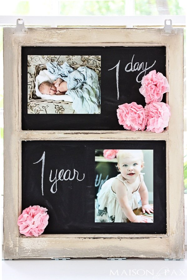 A one-day, one-year first birthday photo idea.