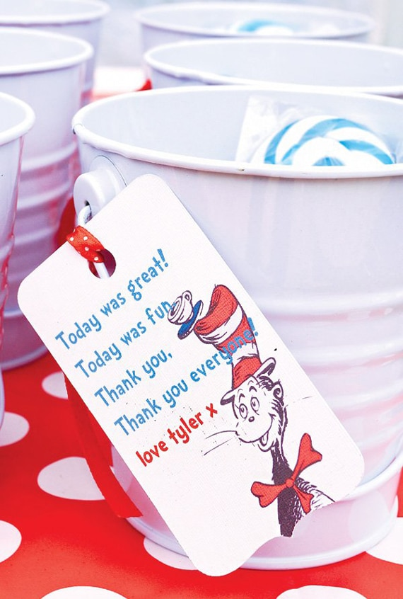 Cat in the Hat Party Favor Tags | Dr. Suess Party Ideas | Pretty My Party