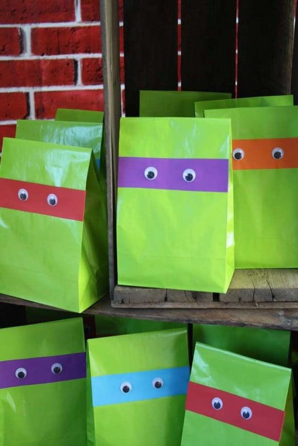 Easy DIY Ninja Turtle Favor Bags