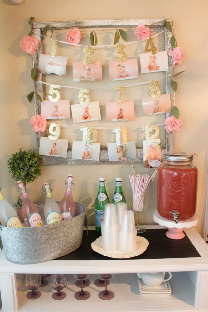 21 pink and gold first birthday party ideas pretty my party for Baby birthday decoration images
