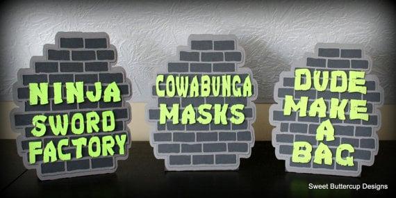 Ninja Turtle Party Brick Wall Table Signs