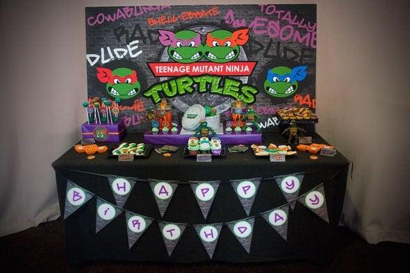 Ninja Turtle Party Dessert Table