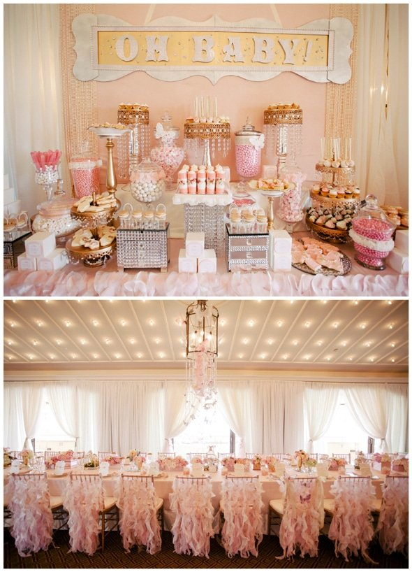 A pink and gold dessert table for a first birthday party.