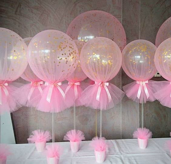 Pink and Gold Confetti Tulle Balloons via Pretty My Party