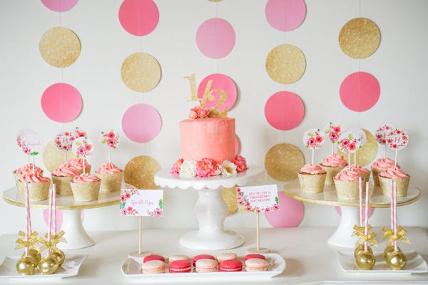 Pink and Gold Dessert Table via Pretty My Party