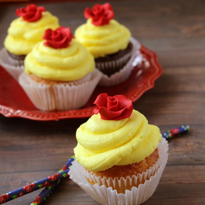 Beauty and the Beast Party Cupcakes