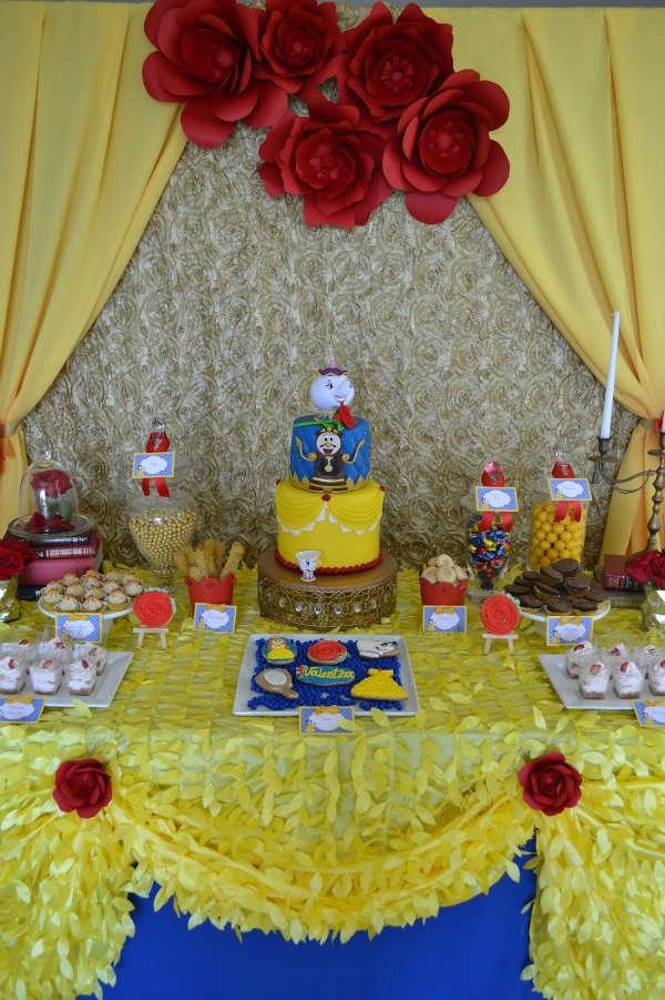 Enchanted beauty and the beast birthday party pretty my for Beauty and beast table decorations