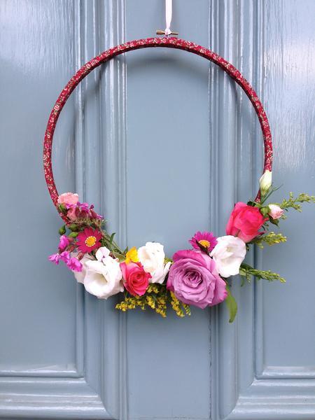 Floral Hula Hoop Wreath