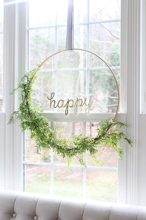Happy Hula Hoop Wreath with Greenery