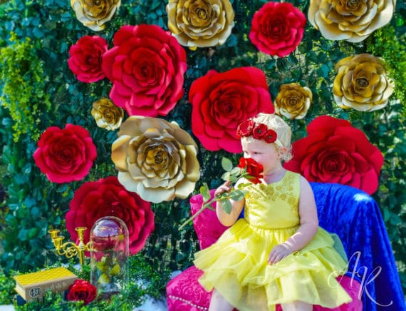 Giant Roses Beauty and the Beast Party Backdrop