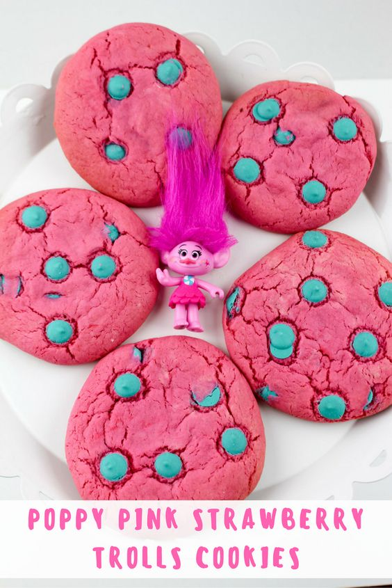 Trolls Poppy Pink Strawberry Cookies