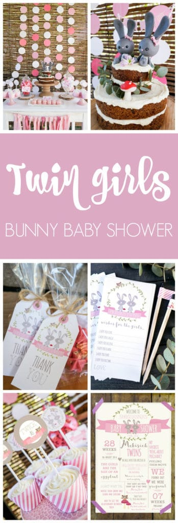 Twin girls bunny themed baby shower on Pretty My Party
