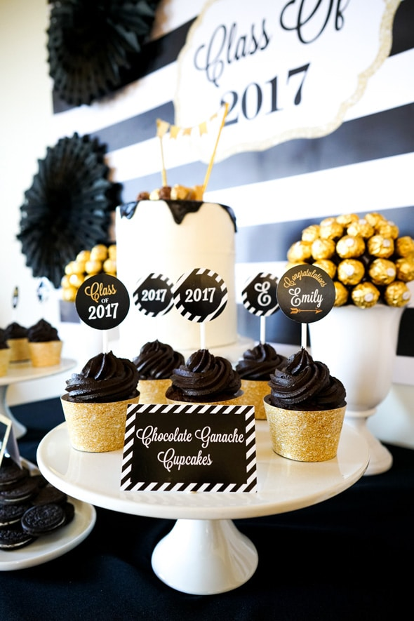 Bold Black and Gold Graduation Party Ideas | Pretty My Party