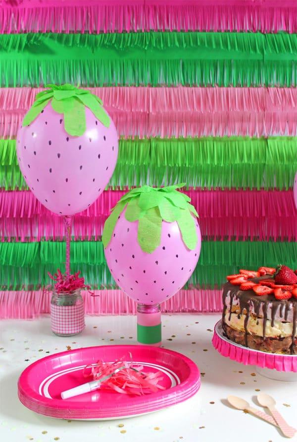 DIY Strawberry Balloons | DIY Balloon Party Ideas | Pretty My Party