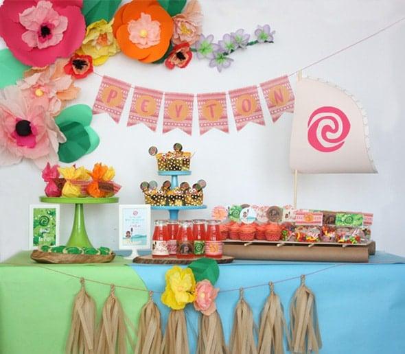 Moana Themed Dessert Table | Moana Party Ideas