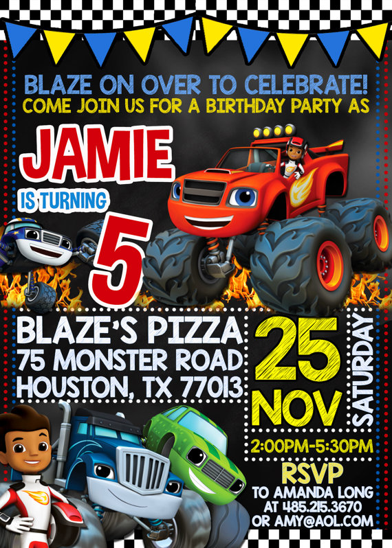 Blaze and the Monster Machines Party Invitation
