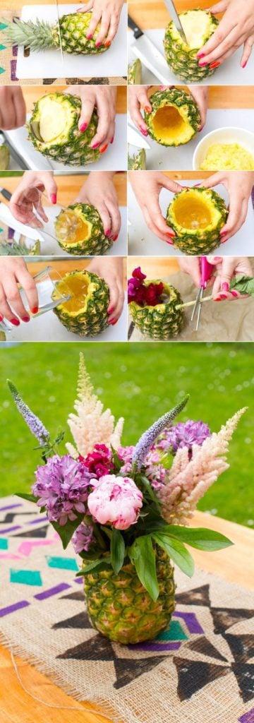 DIY Pineapple Flower Centerpiece - Moana Party Ideas