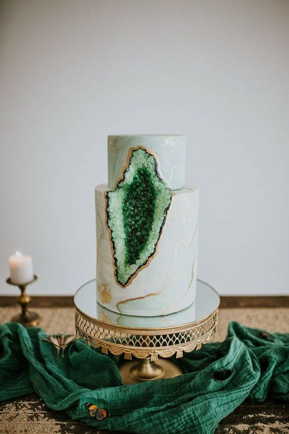 Deep Red And Gold Wedding Cake