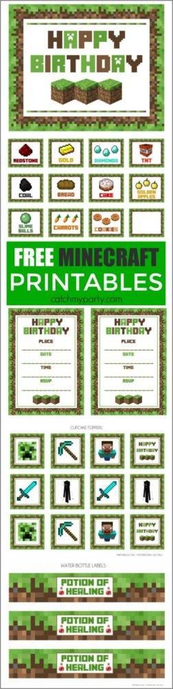 Free Minecraft Party Printables | Minecraft Party Ideas