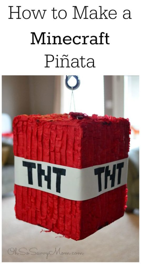 Minecraft Party Ideas TNT Piñata
