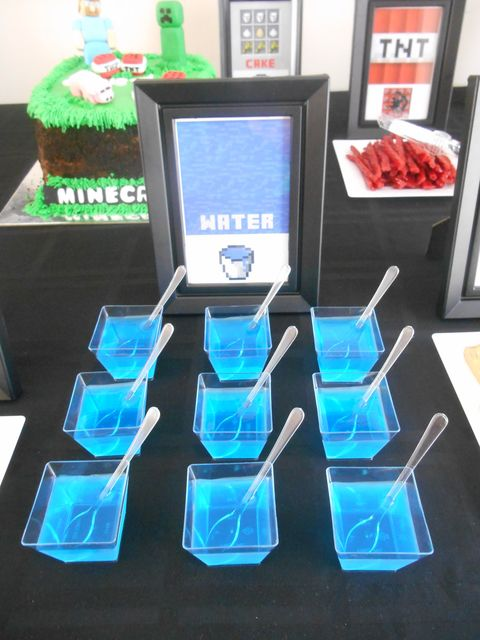 Minecraft Party Ideas Blue Jello Water
