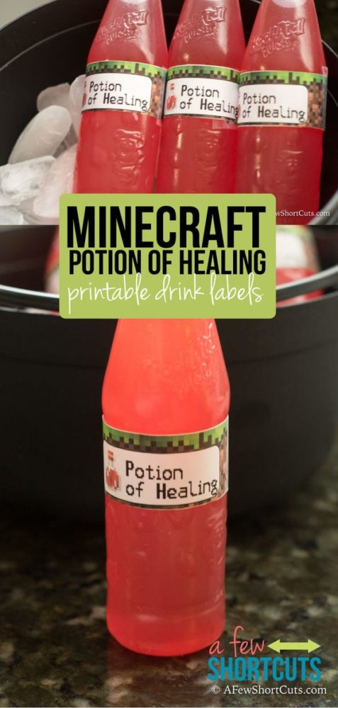 Free Printable Minecraft Party Drink Labels