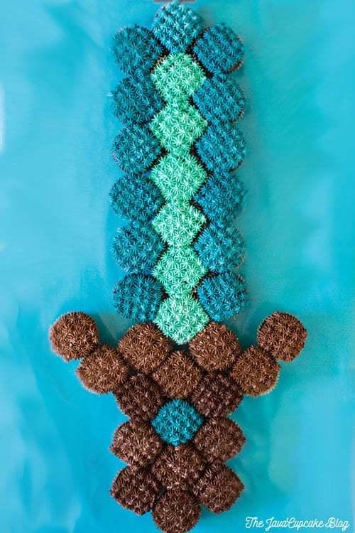 Minecraft Sword Pull Apart Cupcake Cake