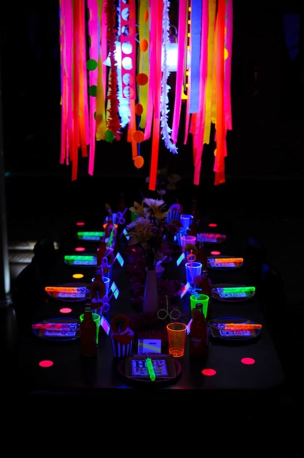 Neon Glow in the Dark Party Table | Pretty My Party
