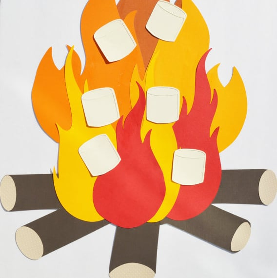 Pin the Marshmallow on the Campfire Game | Pretty My Party