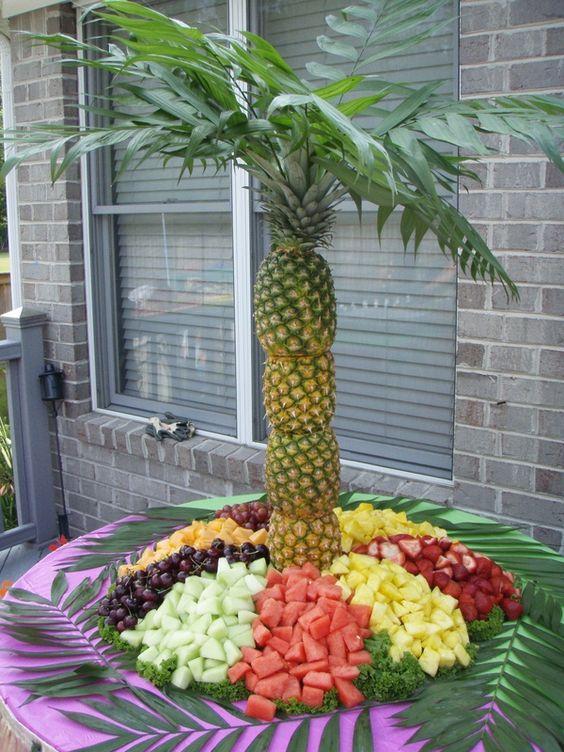 Pineapple Palm Tree Fruit Display - Moana Party Ideas