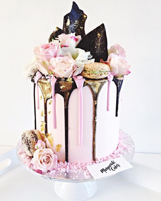 Pink And Black Birthday Cake Designs