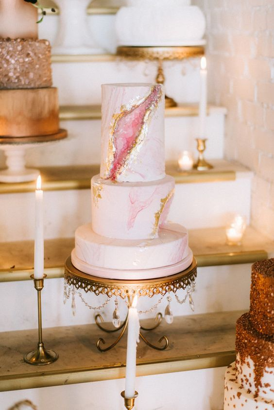 Pink and Gold Geode Birthday Cake | Geode Cake Ideas
