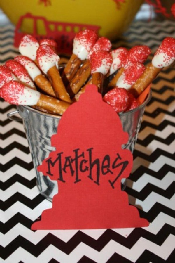 """Pretzel """"Matches"""" Camping Party Food Idea 