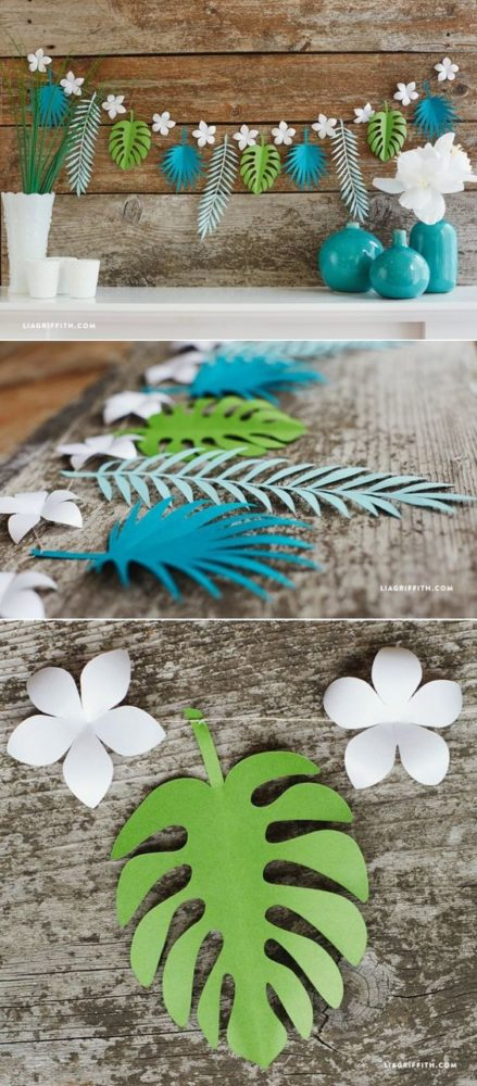 DIY Tropical Leaf Garland for Moana Party