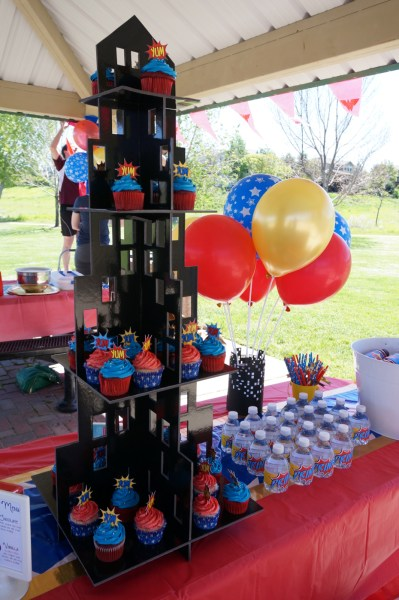 Wonder Woman Party Ideas Cupcake Tower