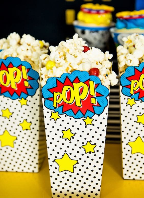 Wonder Woman Popcorn Boxes | Wonder Woman Party Ideas