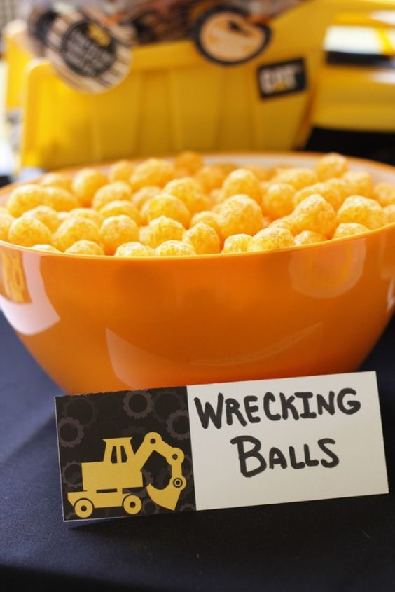 Construction Party Food - Wrecking Balls Cheese Balls