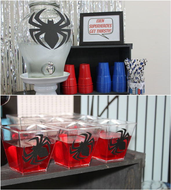 Spiderman Birthday Beverage Station