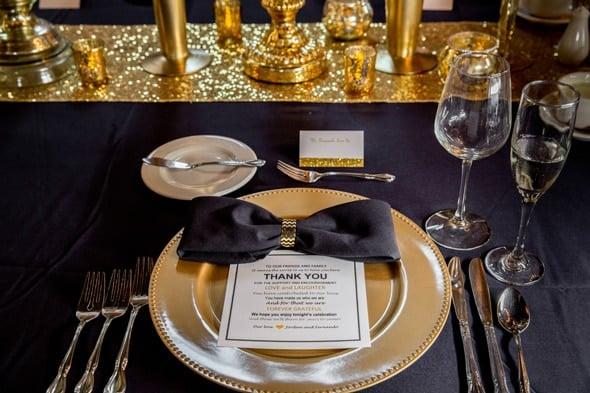 Elegant Gold, Black and White Wedding | Pretty My Party