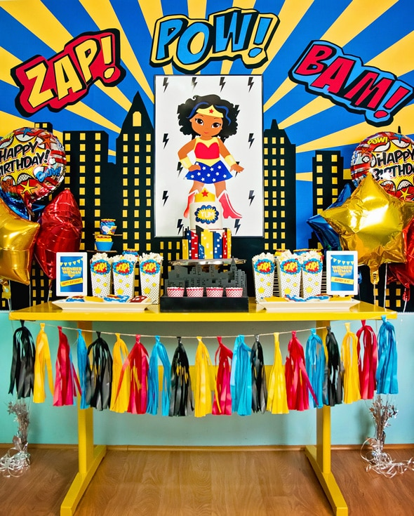 Wonder Woman Birthday Party Dessert Table | Pretty My Party