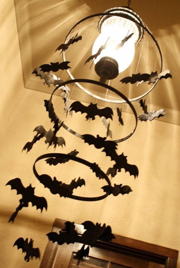 DIY Bat Chandelier   Batman Party Ideas