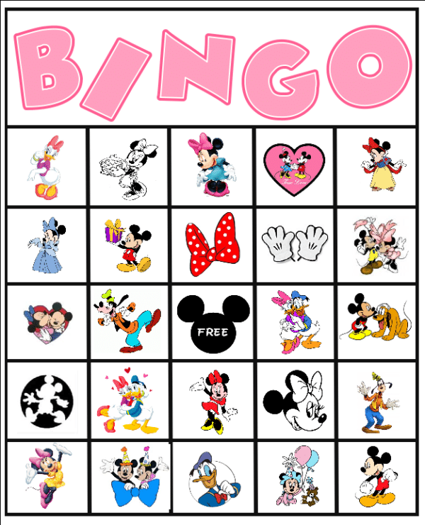 Printable Minnie Mouse bingo game.