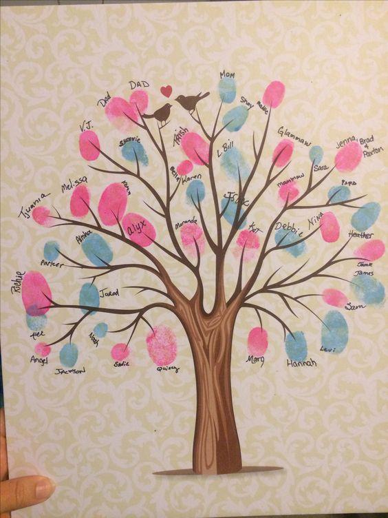 Fingerprint tree as a gender reveal keepsake idea.