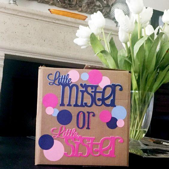 Little mister or little sister reveal box idea.