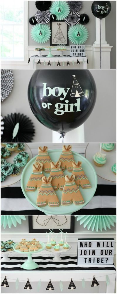 Black and green Tribe party theme for a gender reveals.