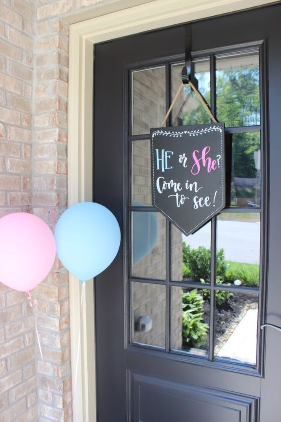 Door sign and entry ideas for gender reveal parties.