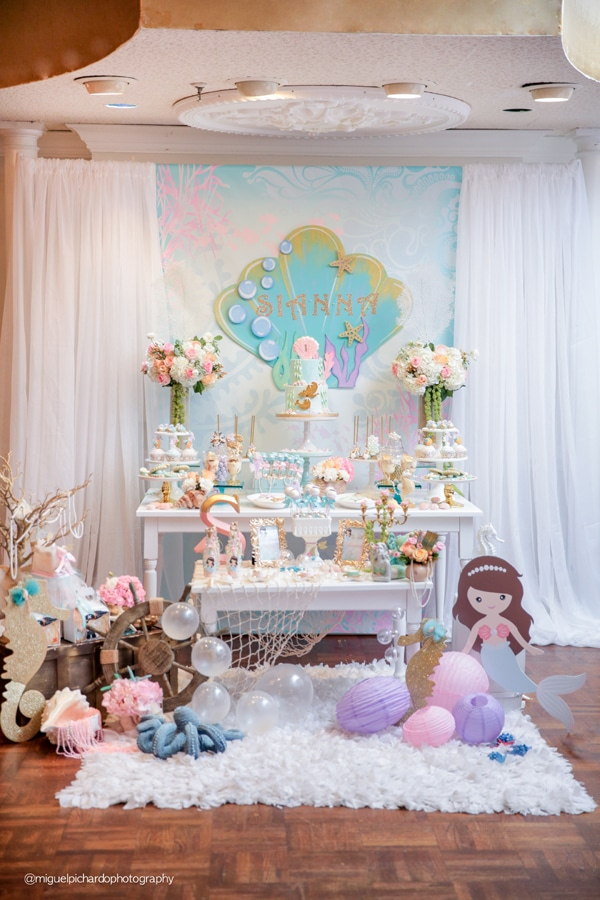 Magical Mermaid First Birthday Party Dessert Table