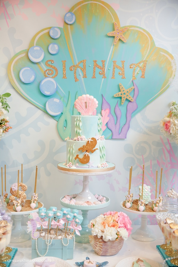 Magical Mermaid First Birthday Party Sweets Table